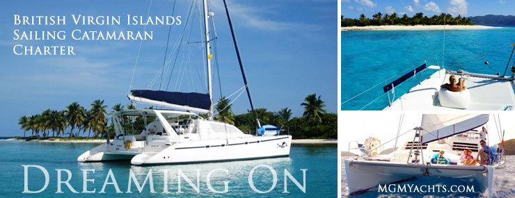 Dreaming On A BVI Yacht Charter Sailing Catamaran in The Caribbean