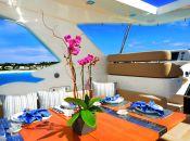 Alfresco Dining on Flybridge with Retractable Sun Shade