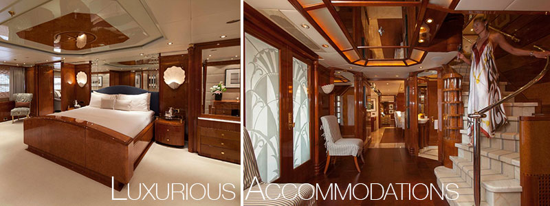 Luxurious accommodations on crewed yacht charters